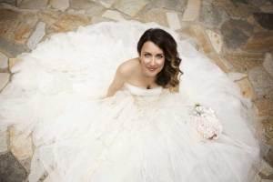 Bruid in grote trouwjurk
