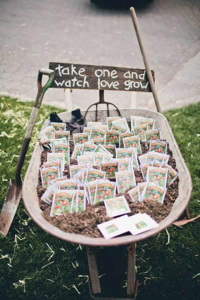 Zaadjes als gastenbedankje op een duurzame bruiloft