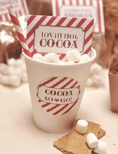 Warme chocolademelk als trouwbedankjes