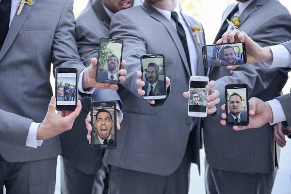 Selfie op een bruiloft
