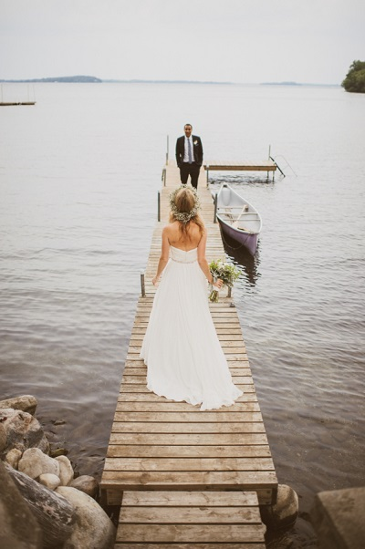 Bruidspaar op steiger