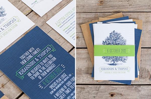 Blauw met witte trouwkaart