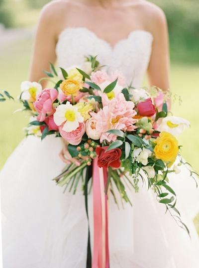 Gekleurd bruidsboeket uitzoeken