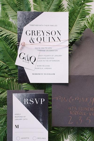 Bruiloft uitnodiging industrieel