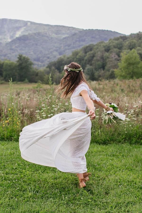 Crop top trouwjurk met korte mouwen
