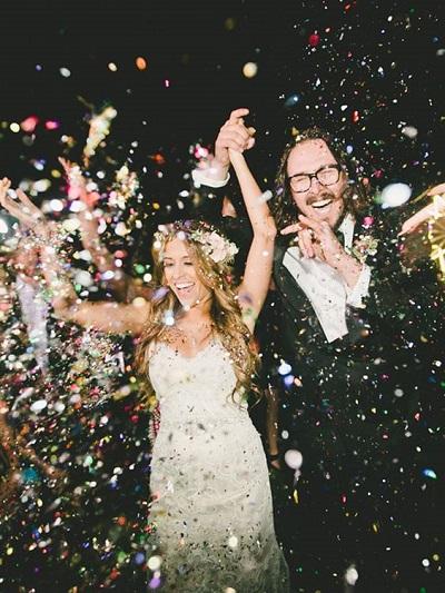 Confetti als afsluiting bruiloft