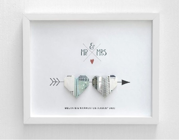 Geld als huwelijkscadeau in lijstje