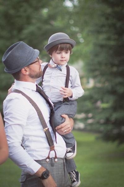 Bruidegom en zoontje