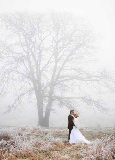 Winter fotoshoot met mist