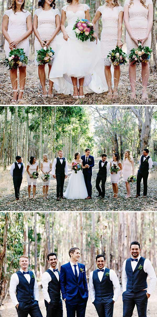 Amerikaanse bruiloft bridesmaids groomsmen