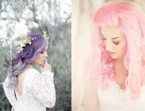Bruiden met paar en roze gekleurd haar