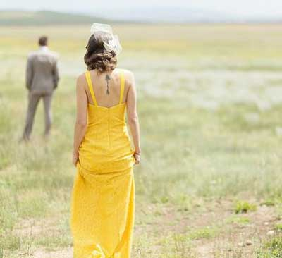 Gele trouwjurk