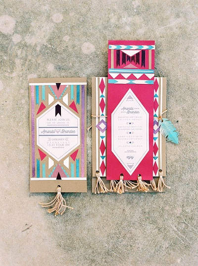 Azteken print bruiloft uitnodigingen