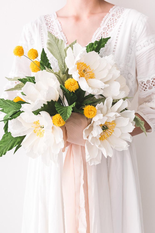 Papieren bruidsboeket als alternatief