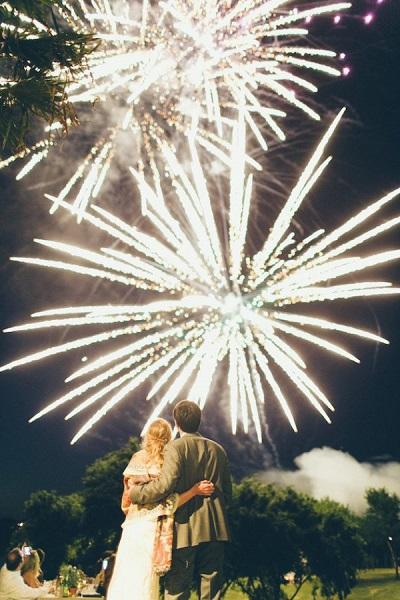 Vuurwerkshow als afsluiting bruiloft