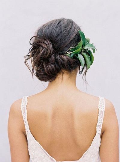 Bruidskapsel met groen