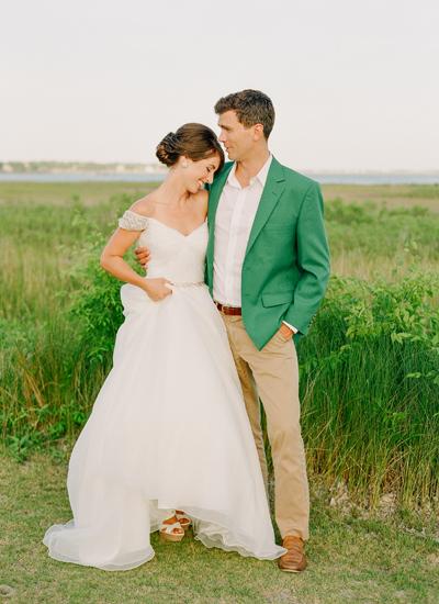 Groen jasje bruidegom