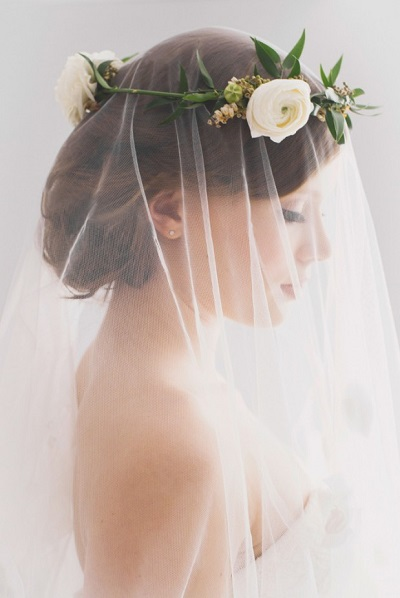 Gezicht bruid achter sluier