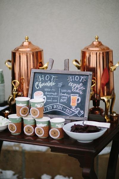 Warme chocolademelk op bruiloft