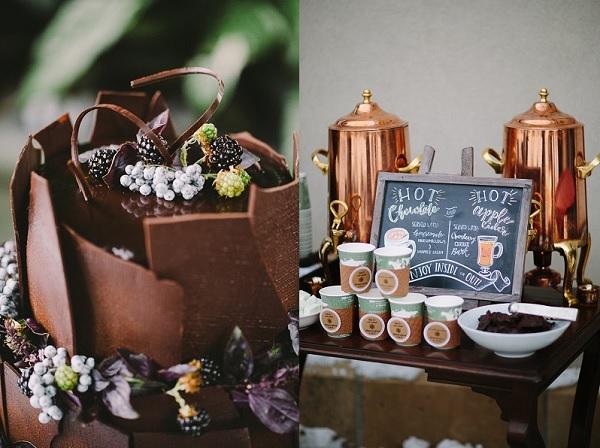 Chocolade bruidstaart en chocolademelk bar