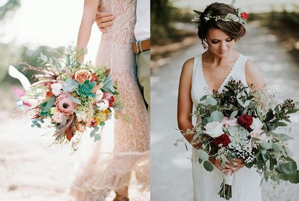 Bruidsboeketten met vetplantjes