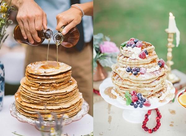 Pannenkoeken bruidstaart met stroop en met vruchten