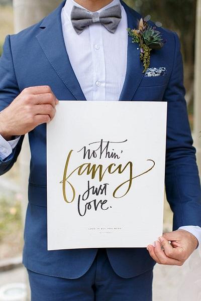 Bruidegom met quote