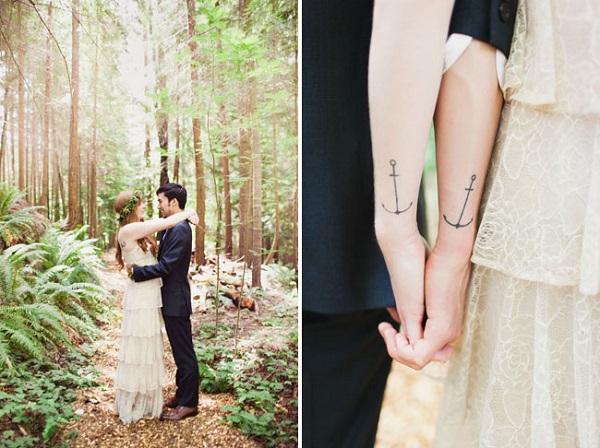 Gezamenlijke tatoeages bruid en bruidegom