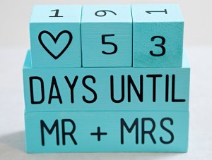 Countdown blokjes voor het aftellen naar de bruiloft