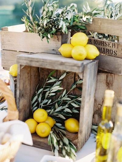 Citroenen als bruiloft decoratie