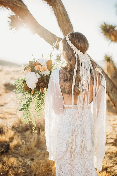 Bohemian bruid sluier