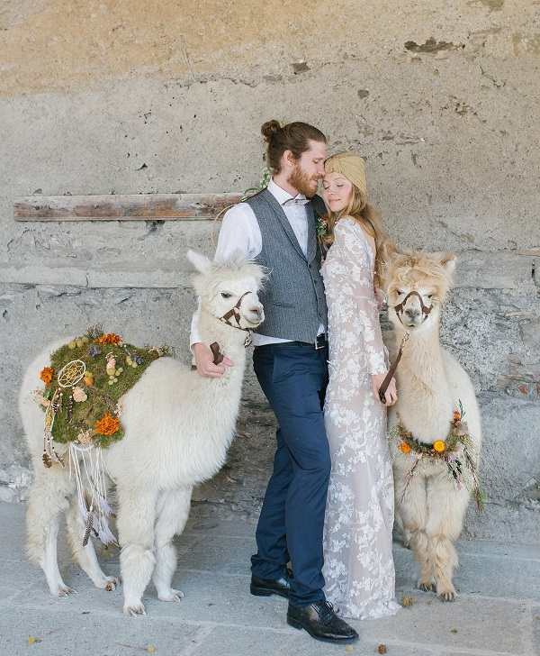 Bruidspaar met twee alpaca´s op bruiloft