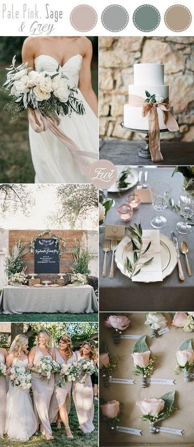 Kleuren voor bruiloft op kleurenpalet