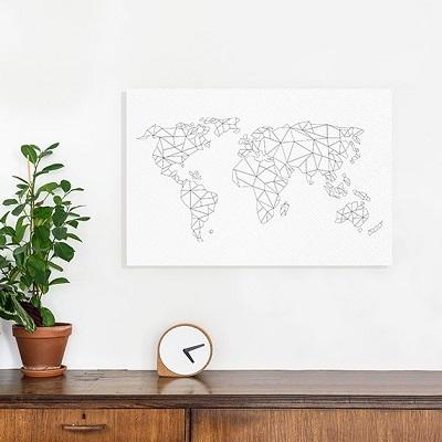 Geometrische wereldkaart zwart wit