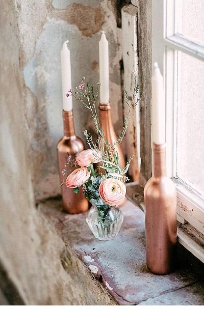 Bruiloft decoratie in rosé goud