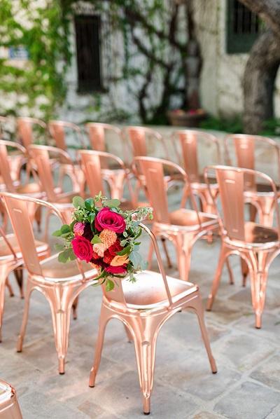 Stoeltjes bruiloft rosé goud