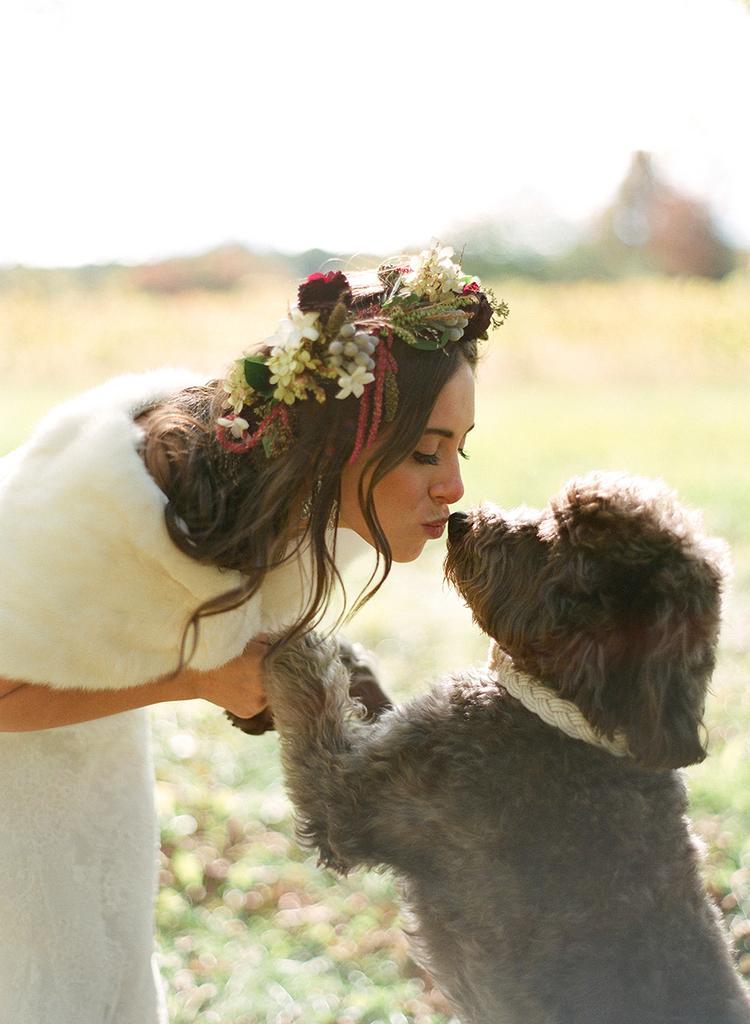 Bruid kust haar hond