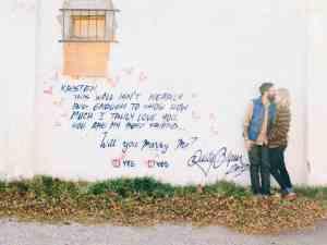 Huwelijksaanzoek op muur