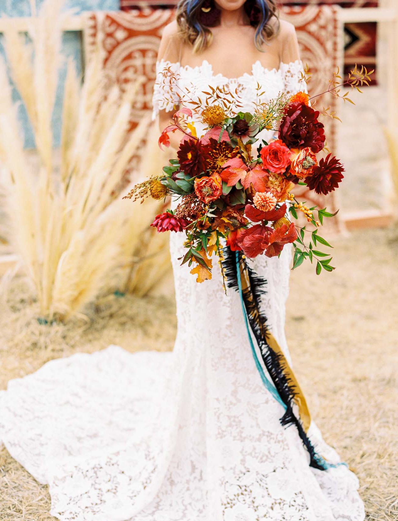 Bruidsboeket donkerrood