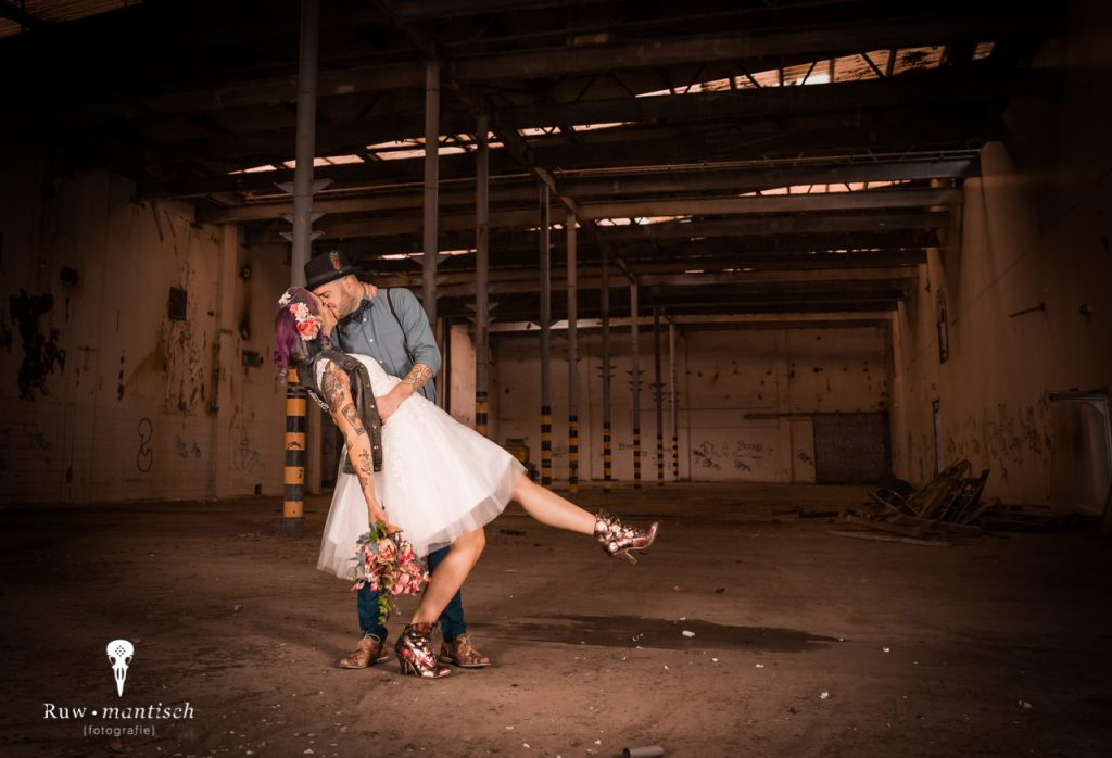 Industriële trouwfoto´s bruidspaar