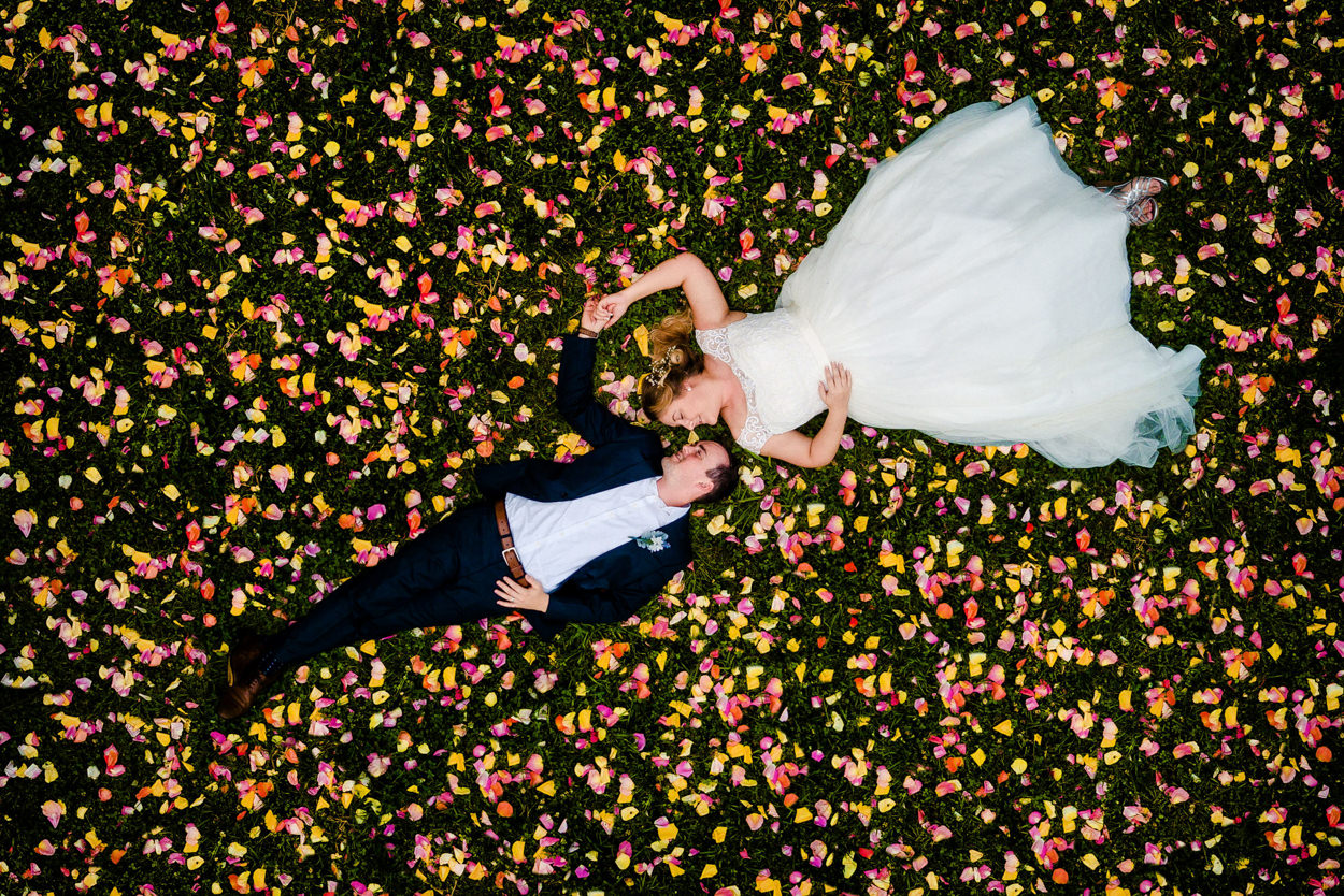 Creatieve trouwfoto's met een drone
