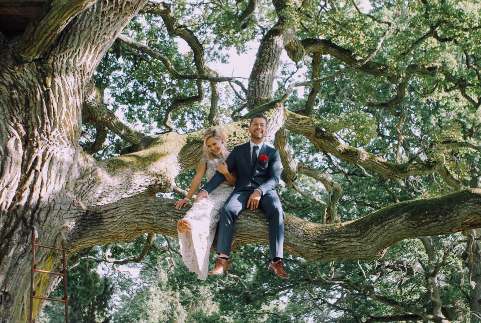 Bruidspaar in een boom