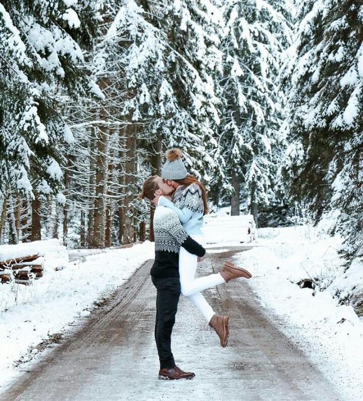 Verloving in de sneeuw