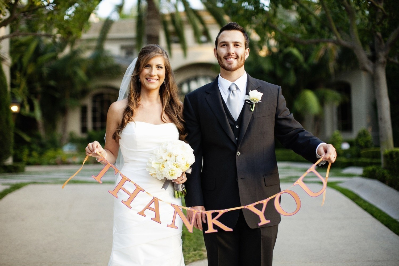 Bruidspaar met tekst thank you