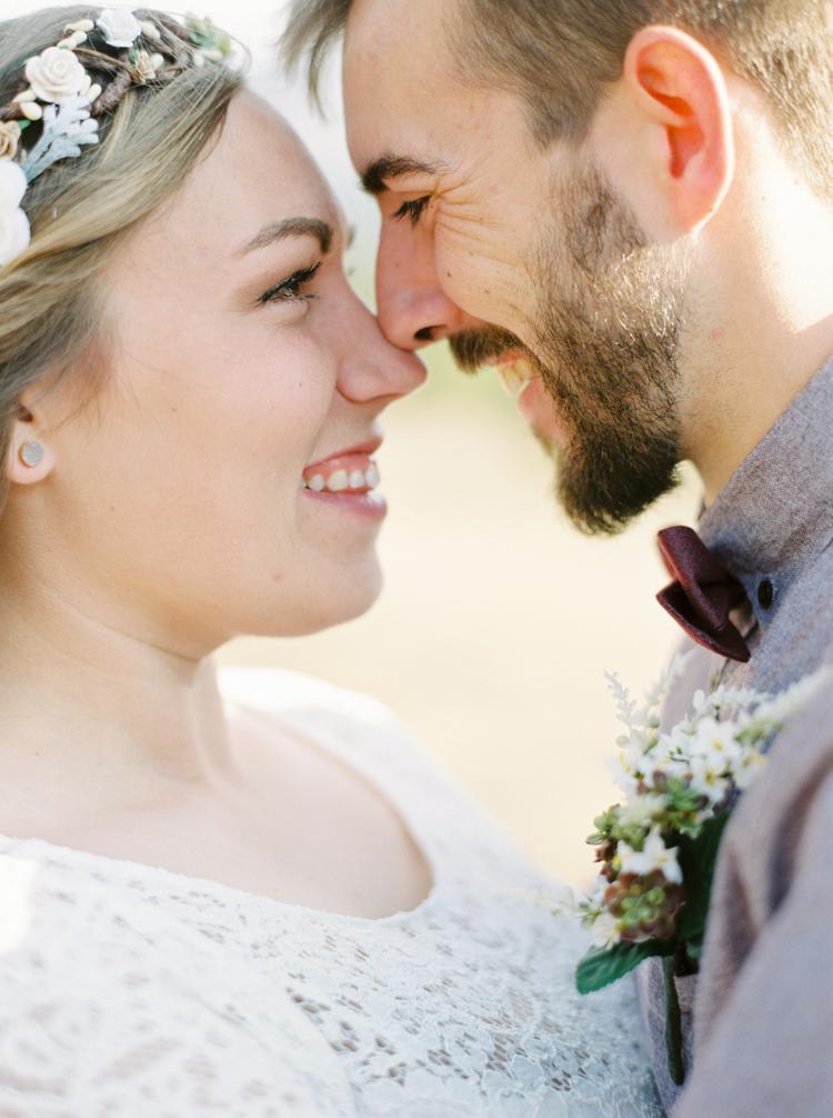 Gezichten van het bruidspaar