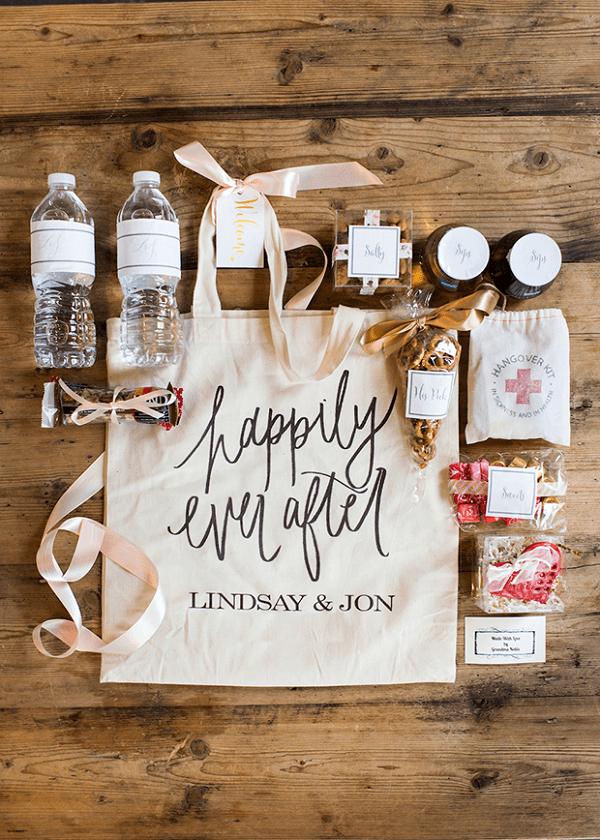 Inhoud van de bruiloft goodiebag