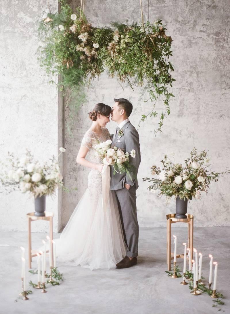 Bruidspaar met industrieel thema