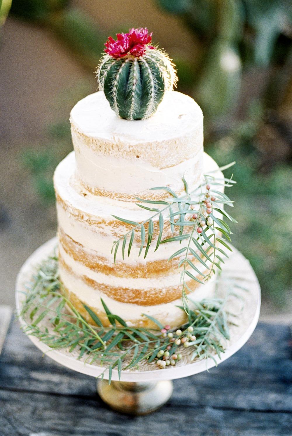 Bruidstaart met cactus als topper