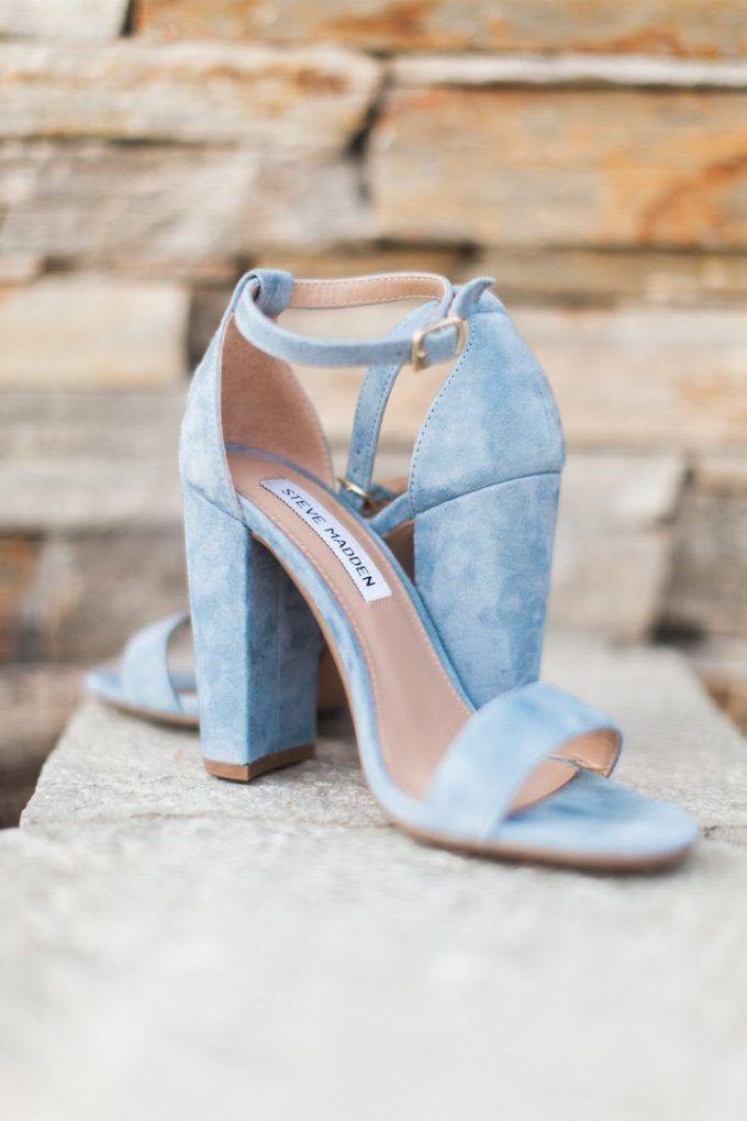 Blauwe trouwschoenen met hak