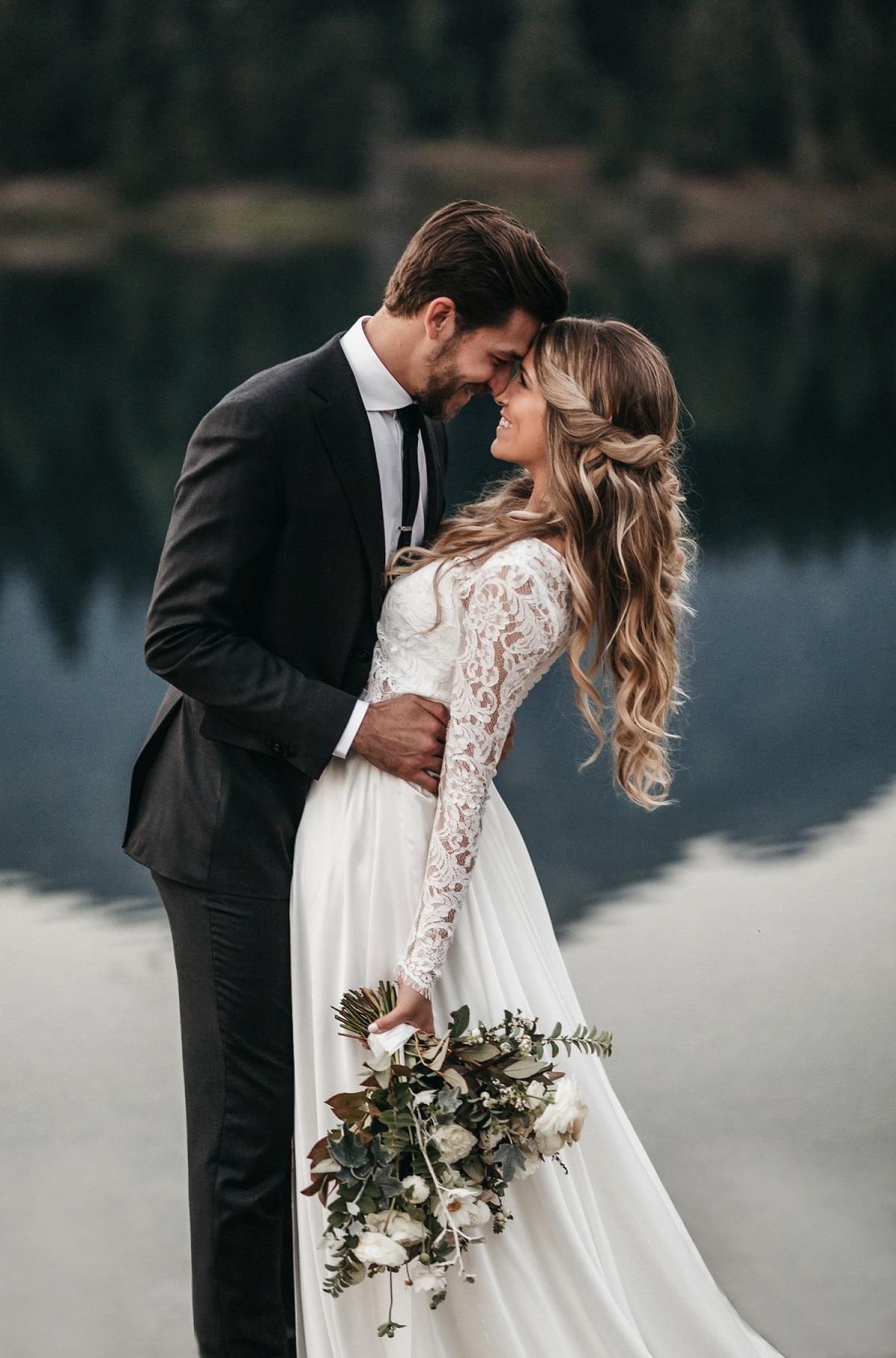 Bruidspaar tijdens trouwdag